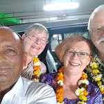 "My honorable guests Mr. Bodo Wieland, Mrs. Christl Wieland & Mrs. Frauke on Delhi airport ""with Mr. Ranbir Kadian on their March 2019 trip to India."""
