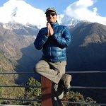 Doing Yoga at Chhomrong, on the way to Annapurna base camp