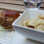 Poulet mariné et boulette de porc/veau