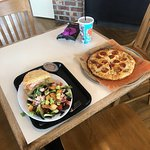 Pick 2 salad and sandwich, and pepperoni pizza with chip and a drink.