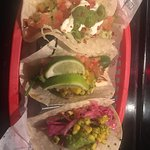 jackfruit taco( with the corn) , haloumi taco and chilli taco