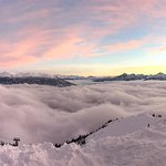 panoramic at sunset at second to highest gondola station