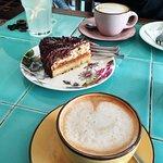 Salted caramel and chocolate fudge cake and coffee