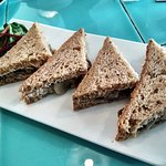 Mushroom, caramelized onion and goat cheese sandwich