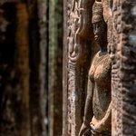 Sunlight on apsara at the Ta Nei temple