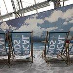 Deckchairs on the beach.