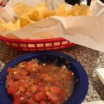 Chips and salsa. Chips were very thin and did not seen to be made in house.