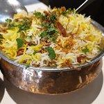 Biryani presented in a Copper handi