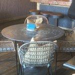 Steel table tops near the bar