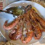 Grilled prawns on rice