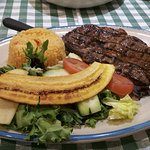 Ribeye steak platter at lunch