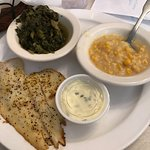 """Grilled flounder with turnips, """"corn pudding"""" and tarter sauce"""