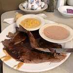 """Roast beef with au jus, navy beans and """"corn pudding"""""""