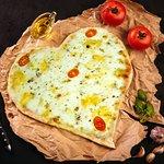 """Пицца """"4 Сыра"""" в форме сердца.  Вы всегда можете заказать пиццу в форме сердца для ваших Любимых в нашей пиццерии """"Итальянцы в Уфе"""""""