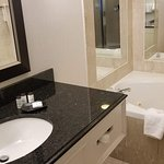 Soaker tub in bathroom