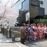 外国人団体客、木屋町通りの桜をバックに記念撮影です