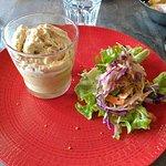Royal d'asperge, espuma de foie gras, salade croquante bio (sans gluten)