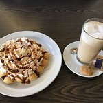 Pre-made and reheated bubble waffle and latte