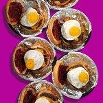Our Wake & Bake Burger (breakfast style burger). On main menu.