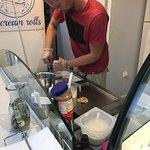 The chef creating Chocolate Peanut Butter Oreo Ice Cream Rolls