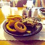 Burger and onion rings, just okay