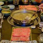 Wagyu beef and veggies for the shabu shabu