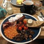 Cooked breakfast and eggs Benedict