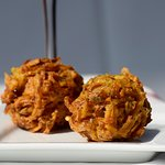 "Onion Pepper Bhaji - Served in Ruchii ""Vegetarian Platter"""