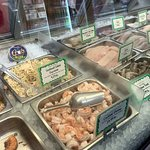a variety of seafood salads and more