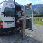 Steve found his way to the not-very-well-sign-posted pickup spot by the Otira River. It was so good to see his smiling face!