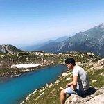 Caucasus Mountains in the mirror,Catcher,Glola,Shovi. Alps in Georgia.