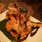 Salted egg prawns with fried fish skin. The best tasting salted eggs prawns. It was so good that
