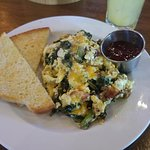 Special Scramble and sourdough with strawberry jam on the side