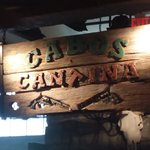 sign inside Cabos Cantina