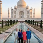 Sunrise with family at the Taj in Agra.