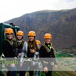 A happy group enjoying the dramatic views and a zip line ride of 1.8 km.