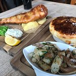 Amazing fish and chips and venison pie!
