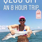 $600 for an 8hr trip up to 6 people 10-25 miles offshore