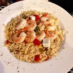 Orzo pasta with shrimp, feta, olives and tomatoes