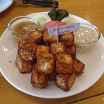 Fried cheese cubs. The cheese taste was too light, it would be good if stronger. But nice to take as snack.