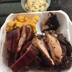 Ribs & Chicken wit 2 sides $ 15