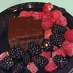 chocolate cake dessert that I added berries to