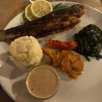 Rainbow Trout (locally caught) meal..., with mash, spinach, butternut and sauce.