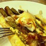 Charred asparagus, poached egg, hollandaise sauce