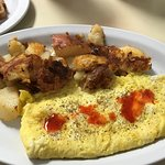 Cheese omelette and home fries