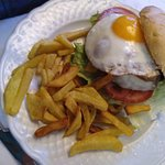 hamburger with bacon and fried egg