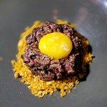 Beef Tartare (mushroom xo, chips)