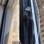 Duct tape sealing drafty windows, nice view!