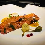 Salmon finely cut