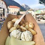 Sheep cheese & cottage cheese with grilled potatoes